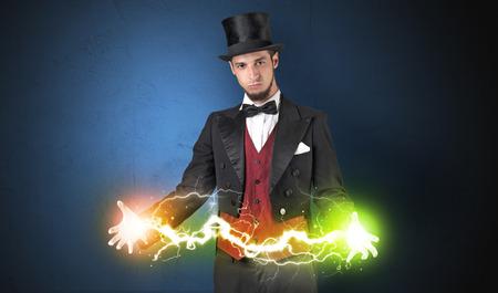 Magician energy between his hands Banque d'images