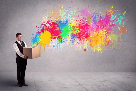 Colour splatter from box Stock Photo