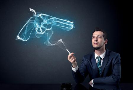 Businessman smoking concept Foto de archivo