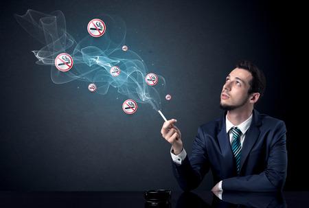 Businessman smoking concept Stok Fotoğraf