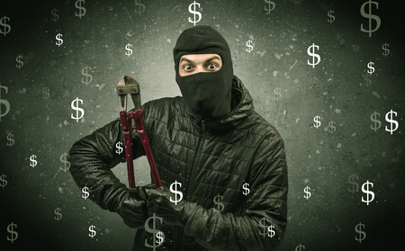 Money hungry thief. Banque d'images