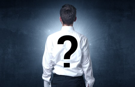 Man standing with question mark on his back