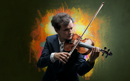 Composer with splotch and his violin Stock Photo