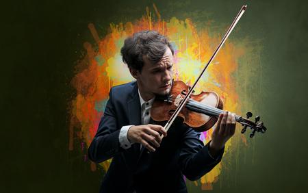 Composer with splotch and his violin Foto de archivo