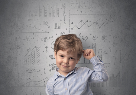 Adorable little kid with statistical concept Imagens