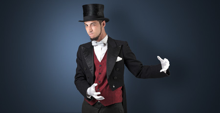 Magician holds something invisible
