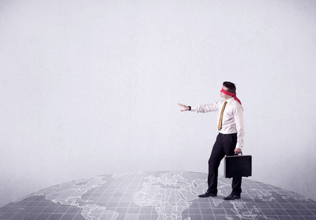 Blindfolded businessman c Stock Photo