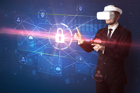 Man with VR goggles unlocking 3D network concept