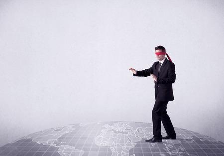 Blindfolded businessman c Stock Photo