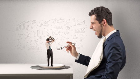 Big businessman eating small employee with doodled charts concept