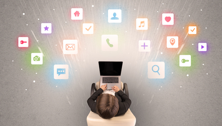 Application icons with woman using tablet