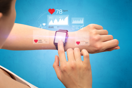 Cardio and smartwatch. Stock fotó