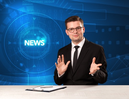 Modern televison presenter telling the news with tehnology background