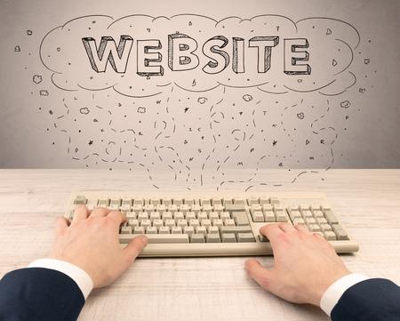 Elegant businessman hand working on internet