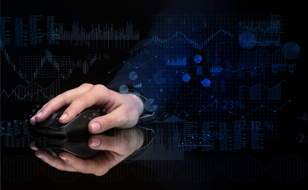 Hand with mouse with financial concept