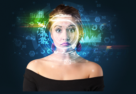 Biometric identification and Facial recognition Stock Photo