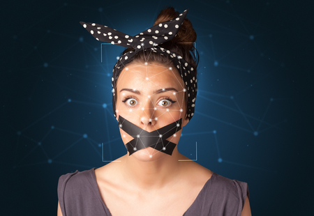 Recognition of a face by layering a mesh Stock Photo