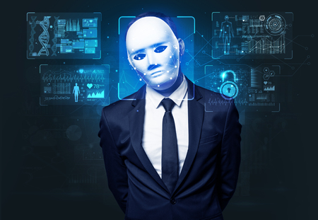 young man face recognition Stock Photo
