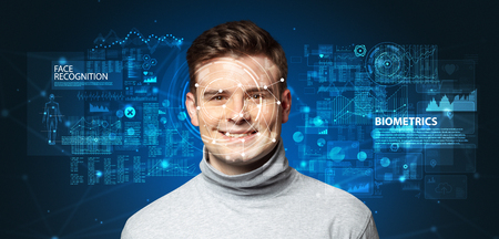 young man face recognition concept