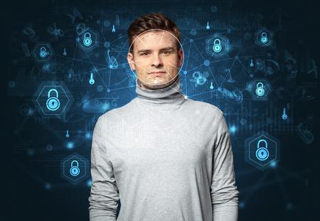 Facial security recognition concept Stock Photo