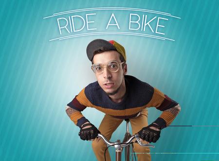 Nutty cyclist on his bike Stok Fotoğraf