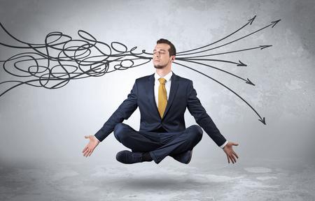 Businessman meditates with purifying doodle concept Banco de Imagens