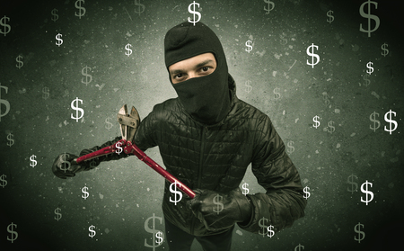 Money hungry thief. Stock Photo