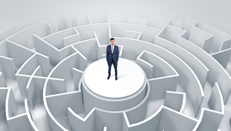 Businessman standing on the top of a maze Banco de Imagens