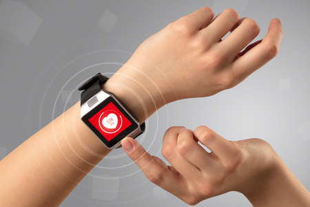 Hand with smartwatch and health concept Stock fotó
