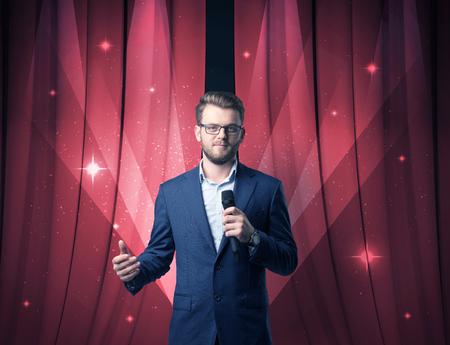 Businessman holding microphone 版權商用圖片