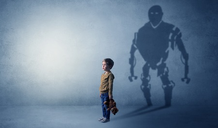 Robotman shadow of a cute little boy Stock Photo