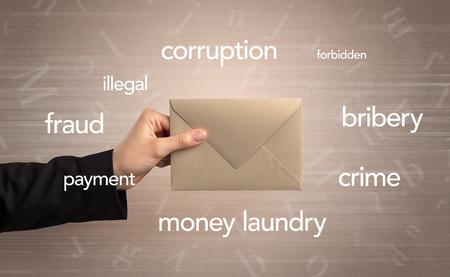 Hand holding envelope with words around 版權商用圖片