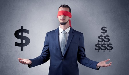 Man with ribbon on his eye holding dollar signs