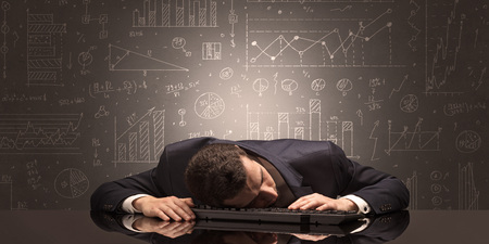 Teacher fell asleep at his workplace with full draw blackboard concept