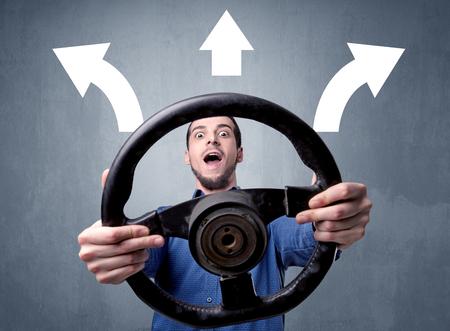 Man holding steering wheel Archivio Fotografico