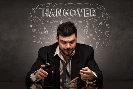 Drunk man with drinking, drug, hangover, alcoholic, drugs concept