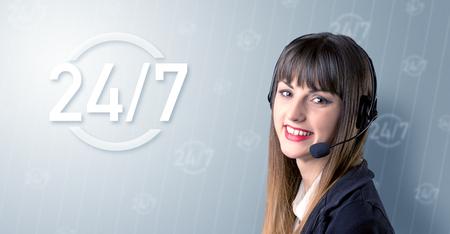Female telemarketer smiling Stock Photo