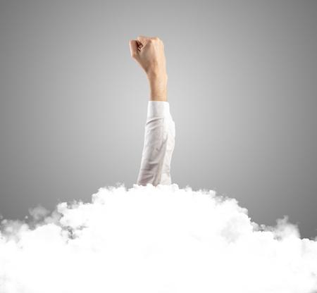 Hand buried into cloud