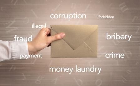 Hand holding envelope with words around Reklamní fotografie