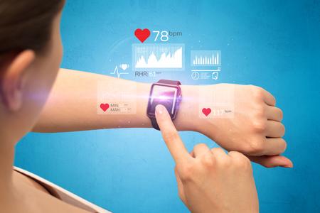 Cardio and smartwatch. Stockfoto