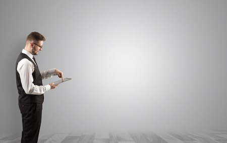 Businessman standing in an empty space