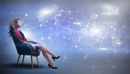 Woman sitting with network and connection concept