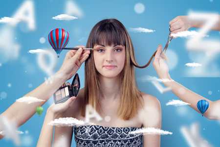Young woman at hairdresser with air balloon theme 版權商用圖片