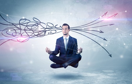 Businessman meditates with purifying doodle concept Stock fotó