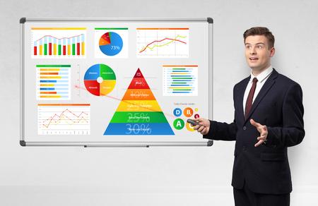 Homme d'affaires présentant des rapports de santé sur tableau blanc avec pointeur laser