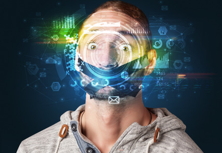 Biometric identification and Facial recognition Фото со стока