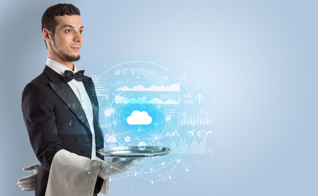 Waiter serving cloud technology concept