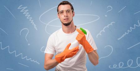 Swabber with orange rubber gloves