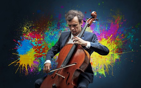 Composer with splotch and his cello Foto de archivo