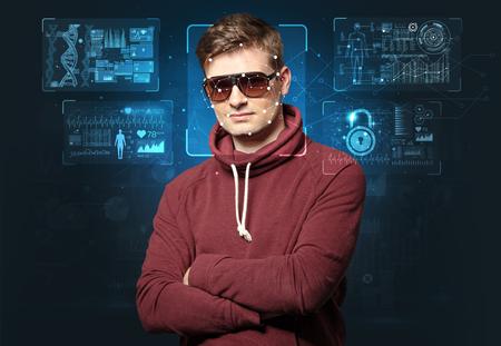 young man face recognition Banco de Imagens